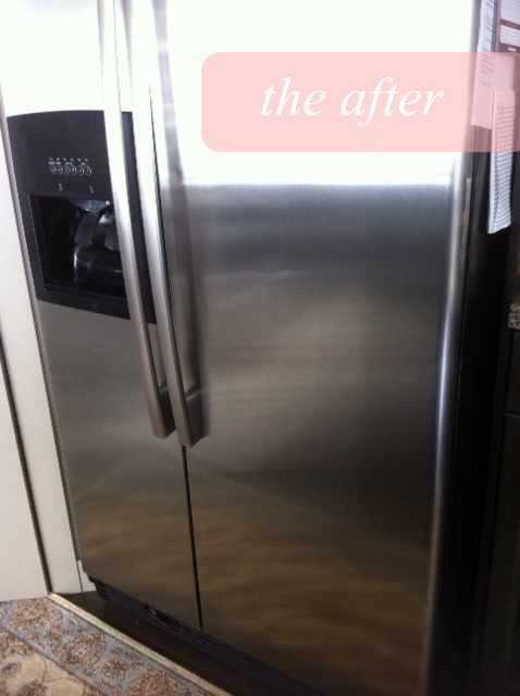 fridge final after how to: naturally clean stainless steel (before & after)